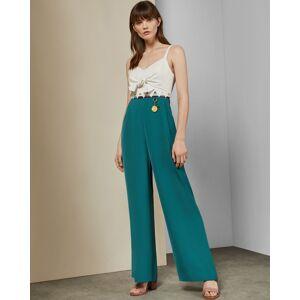 Ted Baker Tie Front Jumpsuit  - Olive - Size:  1 (UK 8)
