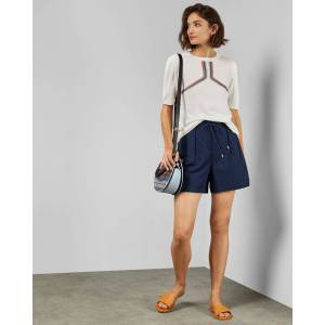 Ted Baker Intarsia Striped Knitted Top  - Ivory - Size:  0 (UK 6)