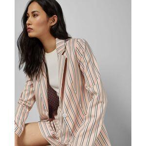 Ted Baker Striped Tailored Jacket  - Light Pink - Size:  5 (UK 16)