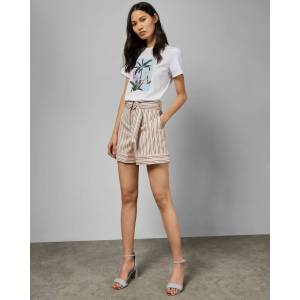 Ted Baker Striped Tailored Shorts  - Light Pink - Size:  4 (UK 14)
