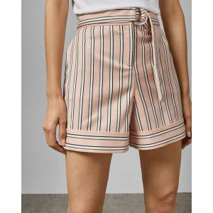 Ted Baker Striped Tailored Shorts  - Light Pink - Size:  3 (UK 12)