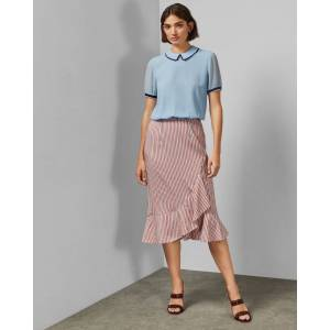 Ted Baker Layered Striped Skirt  - Pink - Size:  3 (UK 12)