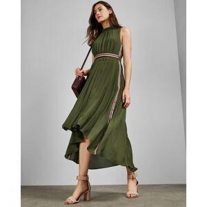 Ted Baker Sleeveless Dip Hem Midi Dress  - Khaki - Size:  4 (UK 14)