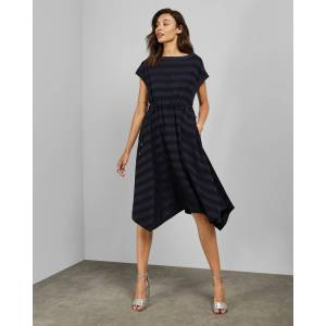 Ted Baker Hanky Hem Striped Dress  - Dark Blue - Size:  0 (UK 6)