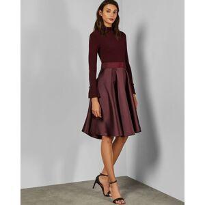 Ted Baker Frill Neck Full Skirt Dress  - Maroon - Size:  4 (UK 14)