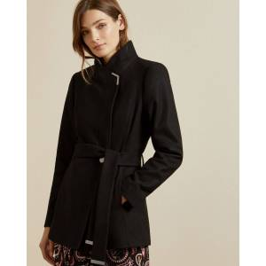 Ted Baker Short Belted Wool Wrap Coat  - Black - Size:  2 (UK 10)