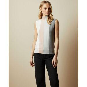 Ted Baker Knitted Striped Sleeveless Jumper  - Dusky Pink - Size:  3 (UK 12)