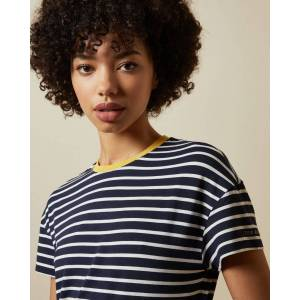 Ted Baker Striped Branded T-shirt  - Dark Blue - Size:  1 (UK 8)