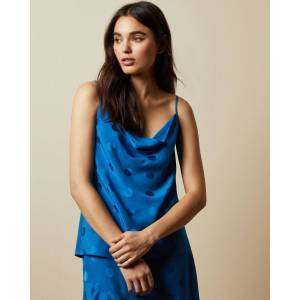 Ted Baker Spotted Cowl Neck Cami Top  - Bright Blue - Size:  0 (UK 6)