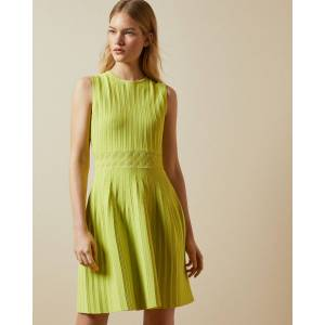 Ted Baker Sleeveless Knitted Skater Dress  - Lime - Size:  1 (UK 8)