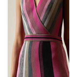 Ted Baker Knitted Wrap Detail Dress  - Bright Pink - Size:  0 (UK 6)