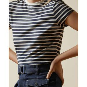 Ted Baker Breton Striped T-shirt  - Navy - Size:  4 (UK 14)