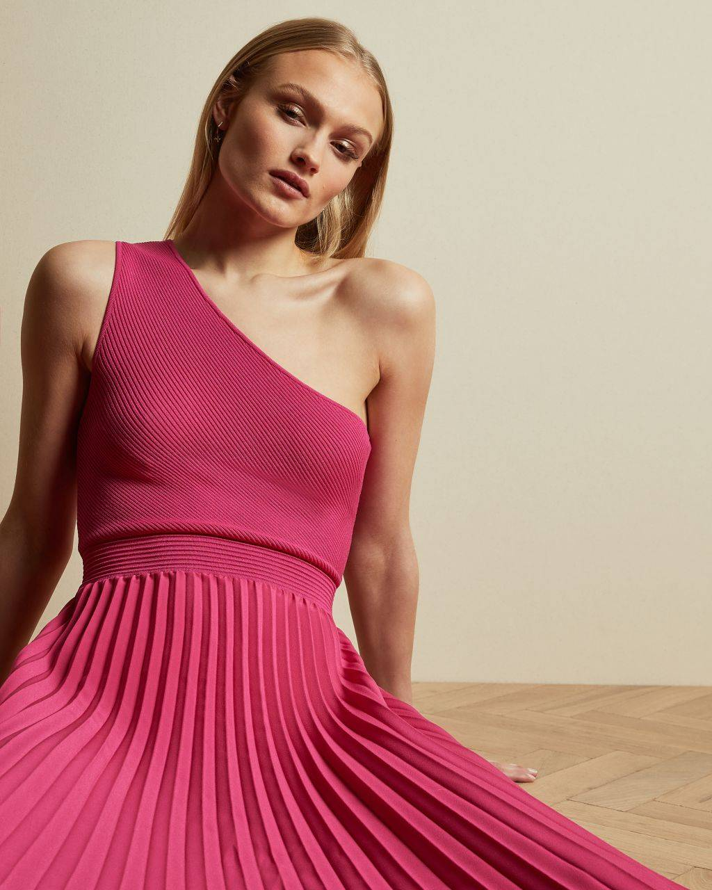 Ted Baker Asymmetric Knitted Midi Dress  - Bright Pink - Size:  3 (UK 12)