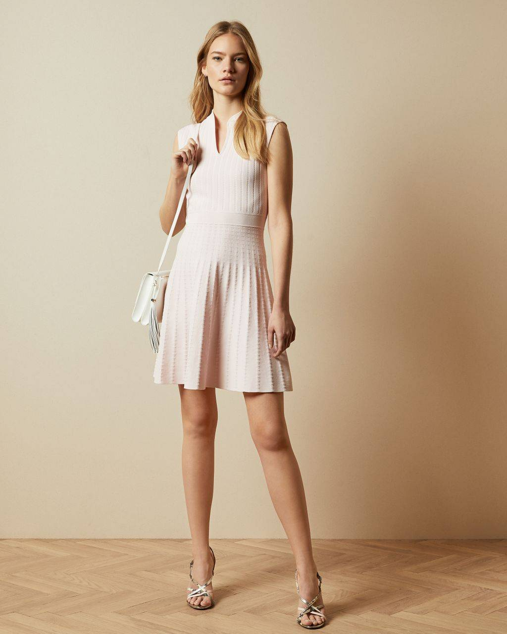 Ted Baker Stitch Detail Skater Dress  - Pink - Size:  4 (UK 14)