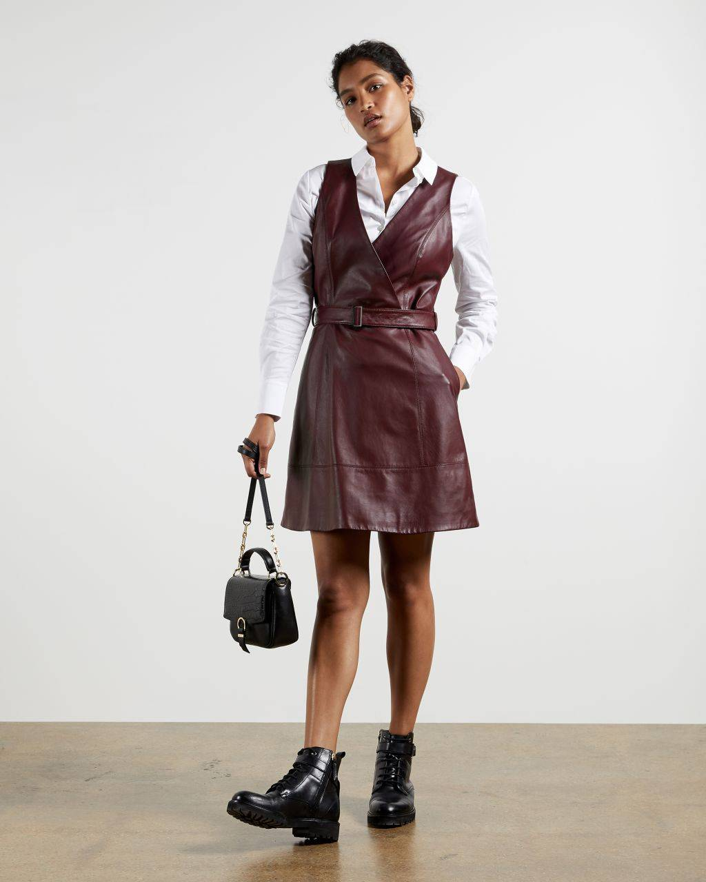 Ted Baker Leather Belted Wrap Dress  - WINE - Size:  4 (UK 14)