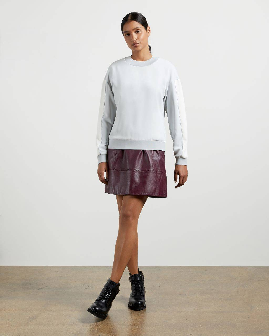 Ted Baker Panelled Sweatshirt  - White - Size:  3 (UK 12)
