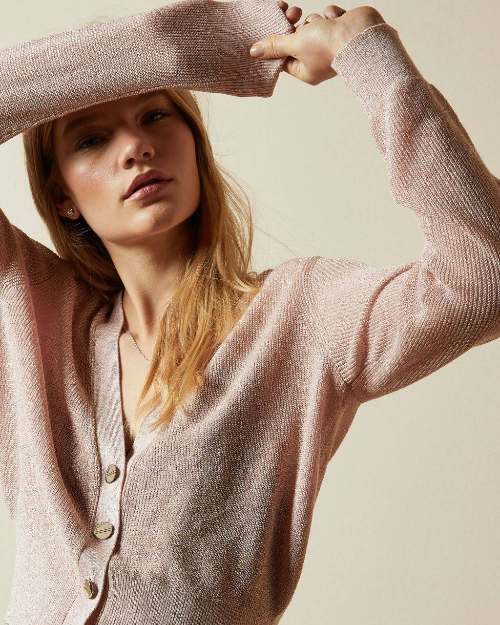 Ted Baker Button Front V Neck Cardigan  - Baby Pink - Size:  4 (UK 14)