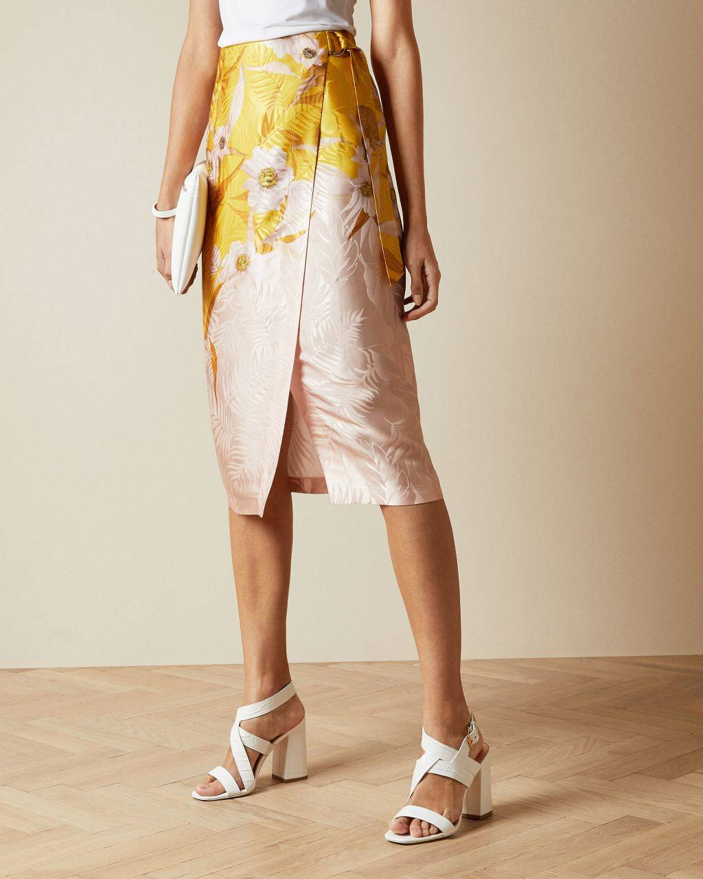 Ted Baker Cabana Printed Wrap Skirt  - Yellow - Size:  4 (UK 14)