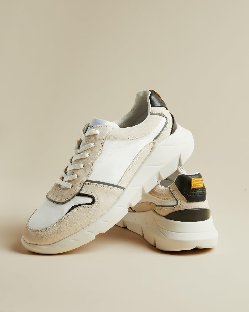 Ted Baker Colour Block Leather Trainers  - Ecru - Size: UK 9 (EU 43)