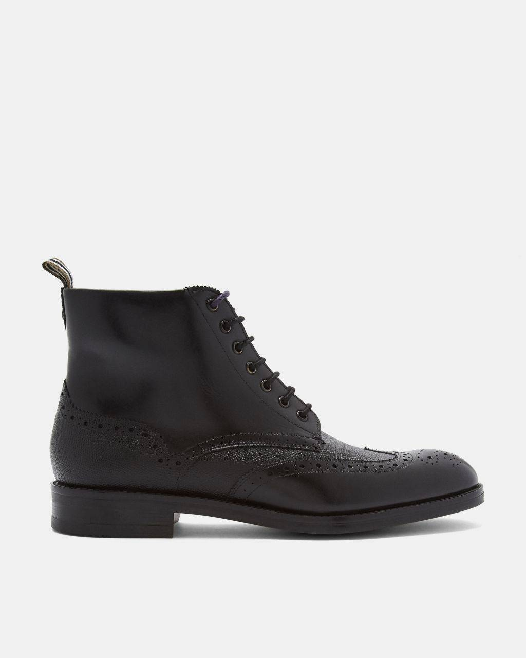 Ted Baker Leather Brogue Detail Lace Up Boots  - Black - Size: UK 8 (EU 42)
