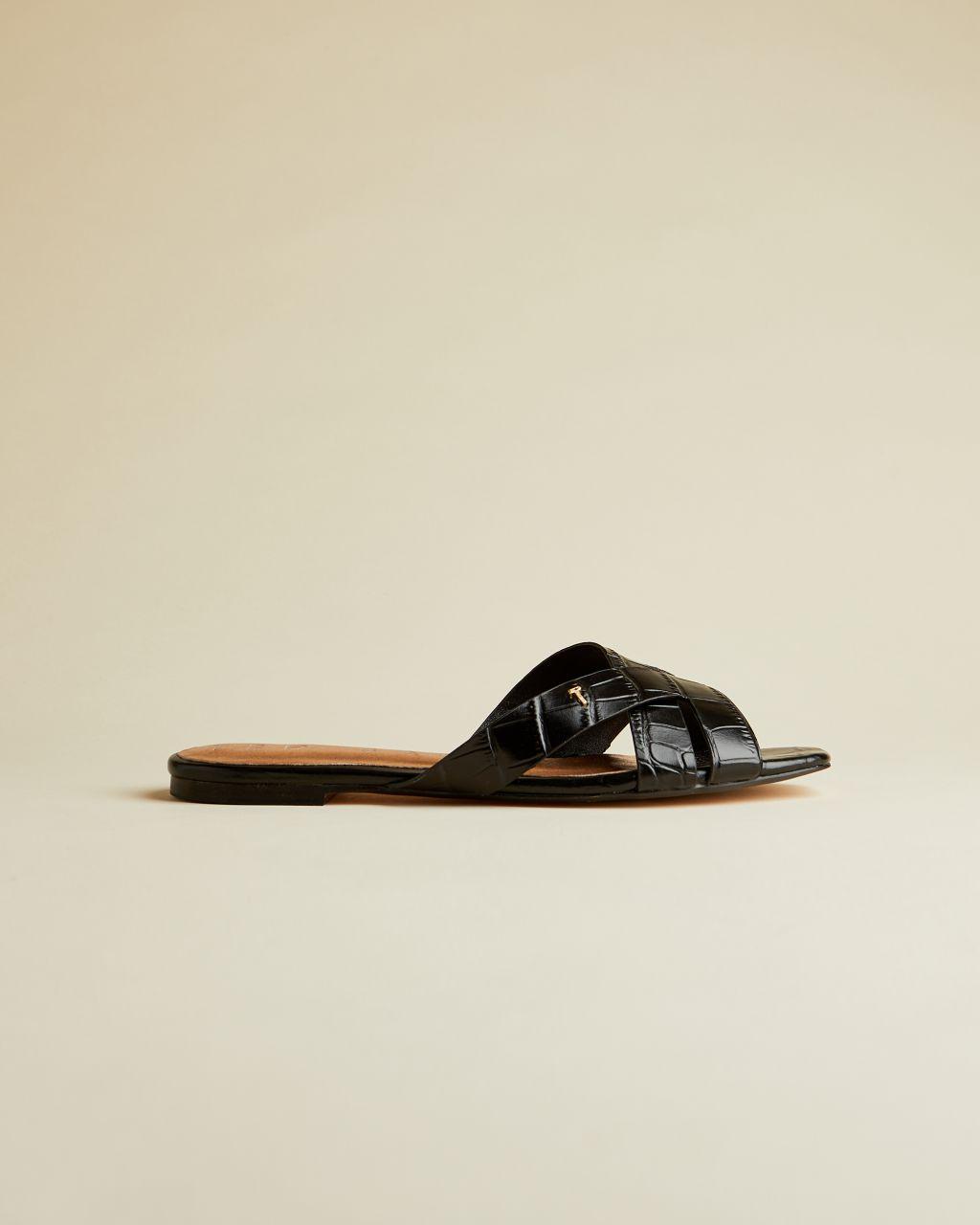 Ted Baker Leather Croc Effect Flat Sandal  - Black - Size: UK 4 (EU 37)