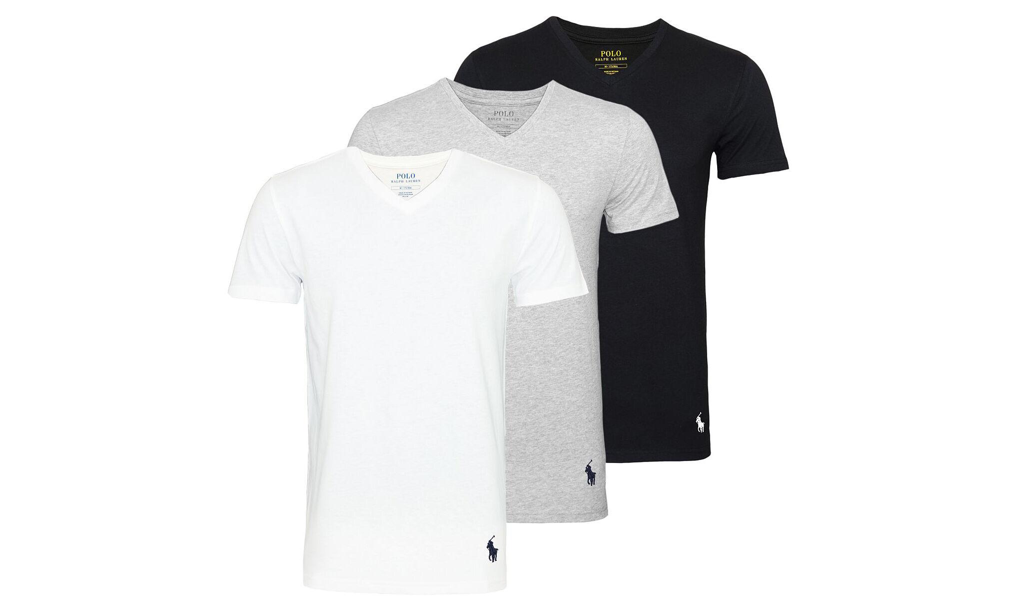 Ralph Lauren Men's Ralph Lauren Three-Pack of T-Shirts: V-Neck Grey, Black, White/XXL