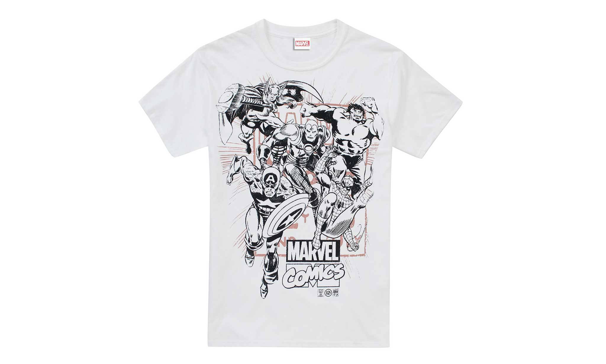Marvel Men's T-Shirt: White Band of Heroes/Size XL