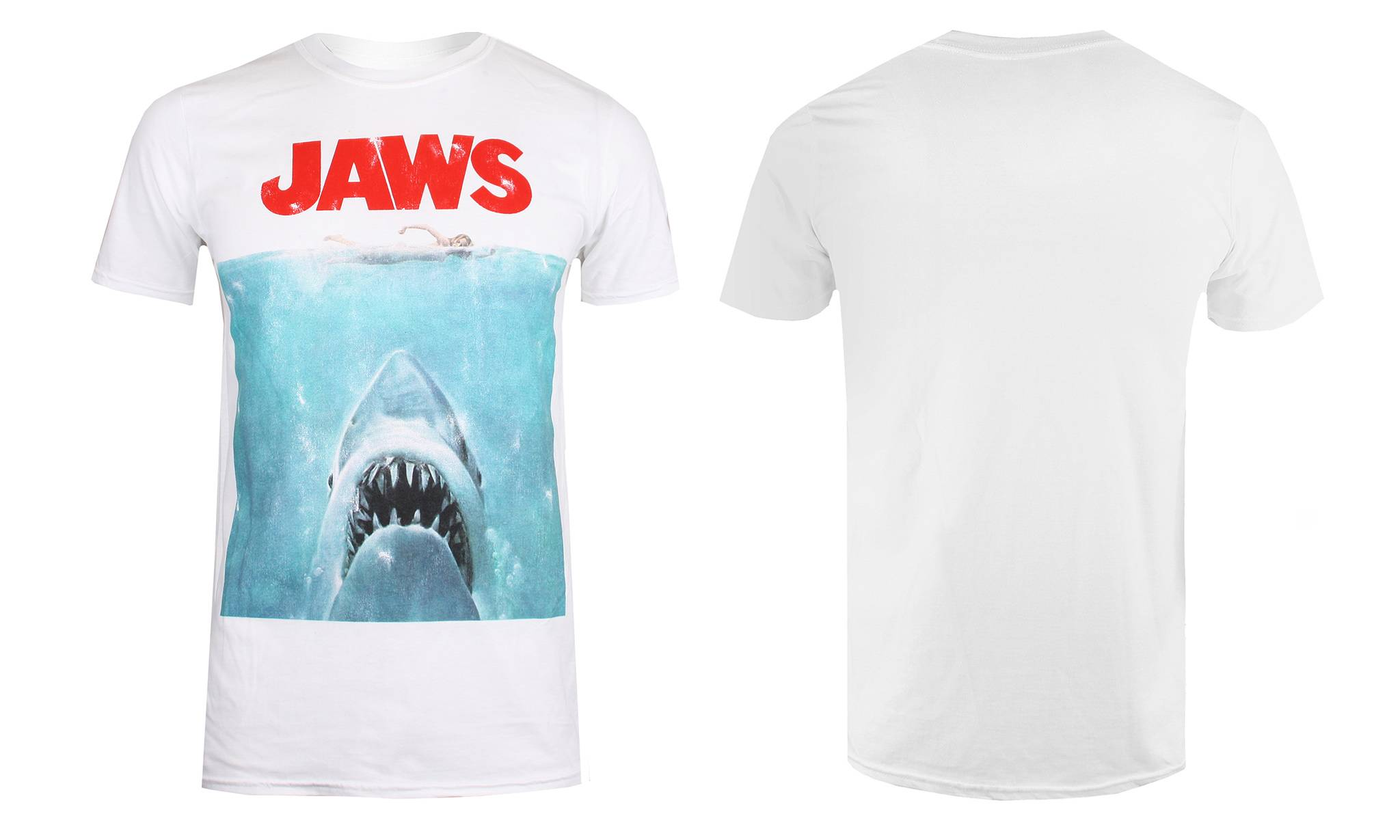 11.99 Men's T-Shirt: White/Jaws Movie Poster/S