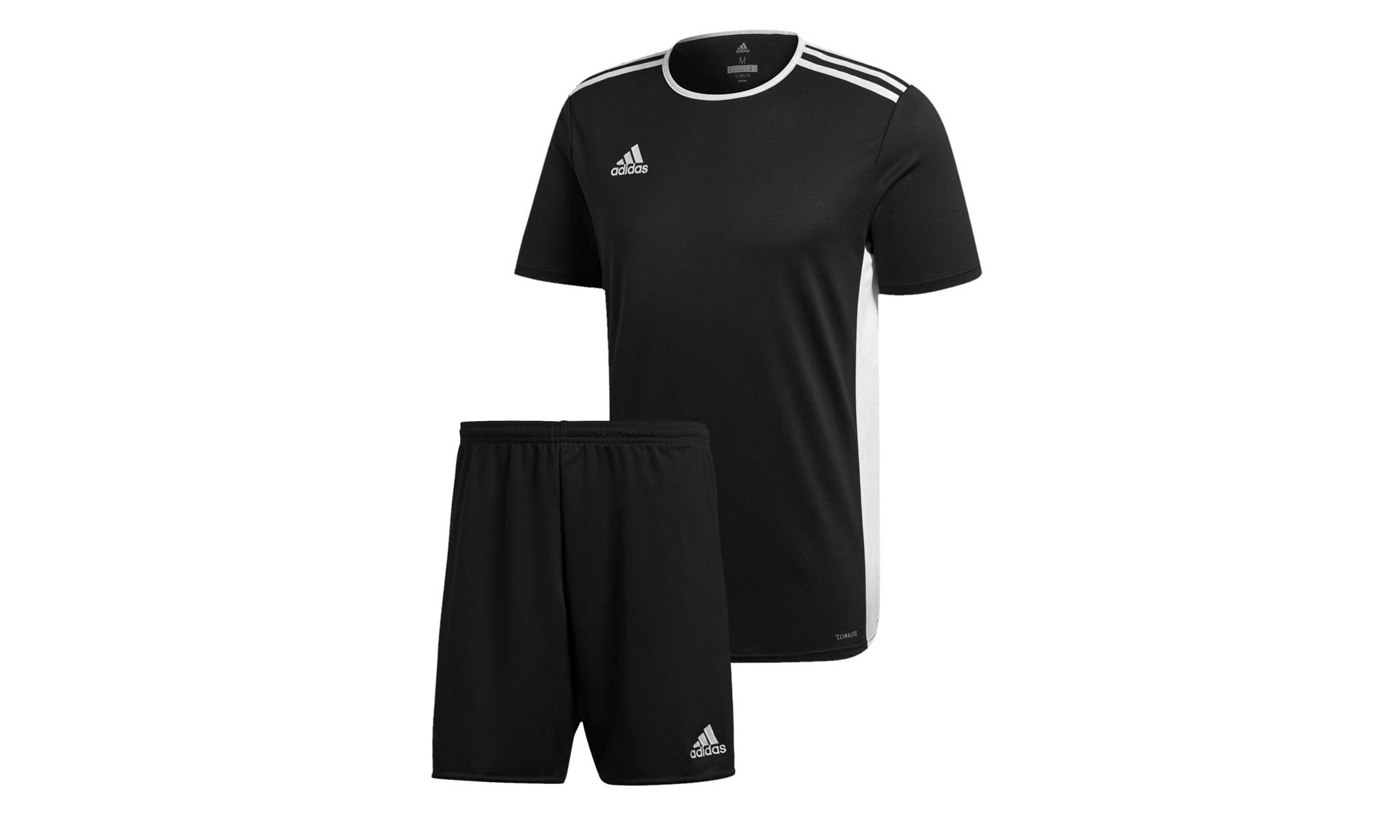 26.98 Men's Adidas T-Shirt and Shorts: Black T-Shirt and Black Shorts/Size L