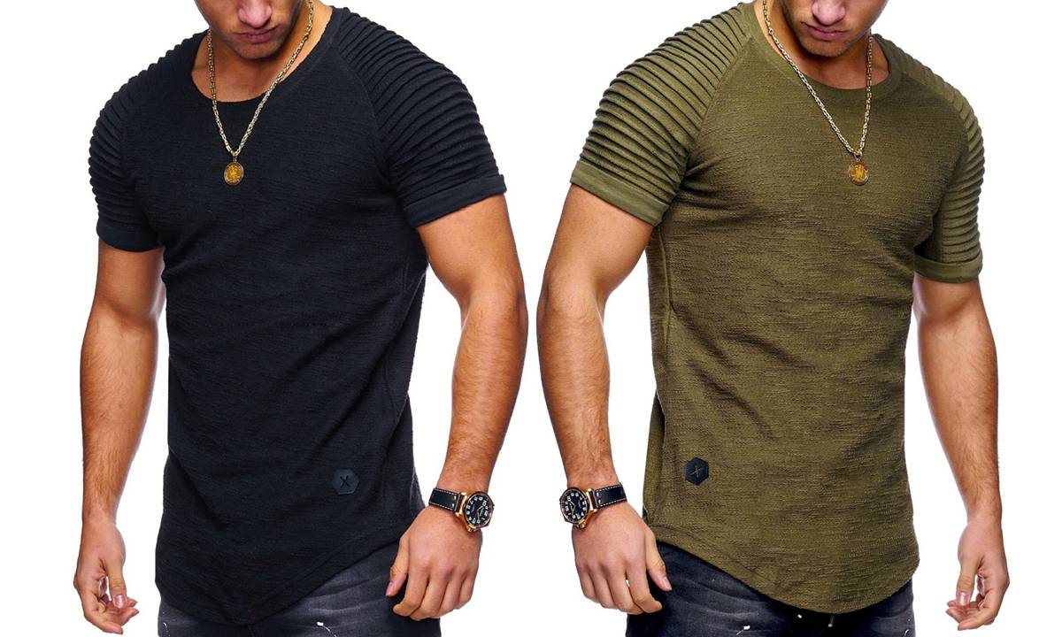 Groupon Goods Two Men's Textured Sleeve T-Shirts: Black and Green/Size L