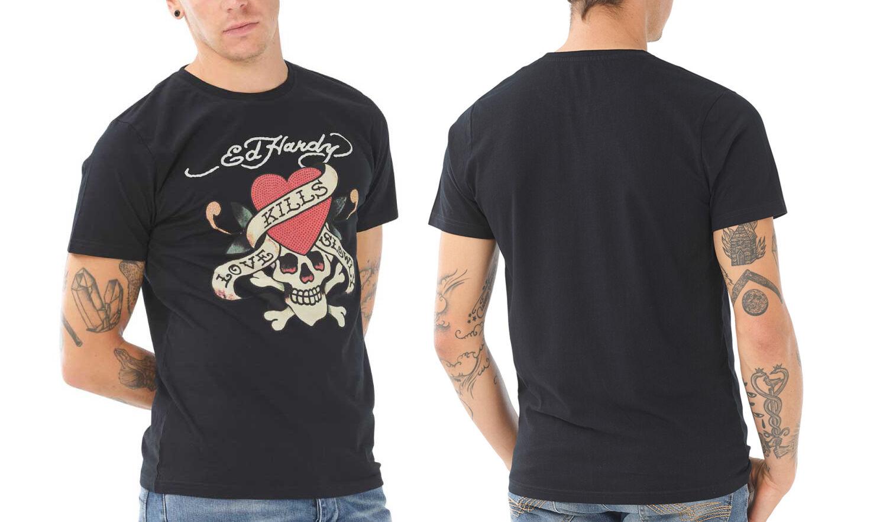 Ed HArdy Men's Print Top: Dallas - Black/T-Shirt/L
