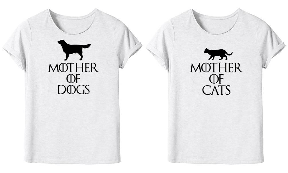 Groupon Goods Women's Mother Novelty T-Shirt: Mother of Dogs and Mother of Cats/M/Two
