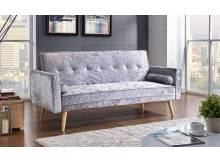 Sofas & Armchairs Groupon Goods Fabric Sofa Bed: Silver Crushed Velvet Fabric