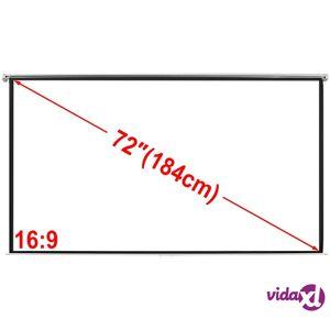 vidaXL Manual Projection Screen 160x90 cm Matt White 16:9 Wall Ceiling Mount