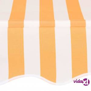 vidaXL Manual Retractable Awning 350 cm Yellow and White Stripes