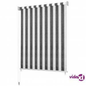 vidaXL Outdoor Roller Blind 400x140 cm Anthracite and White Stripe
