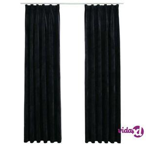 vidaXL Blackout Curtains 2 pcs with Hooks Velvet Black 140x175 cm