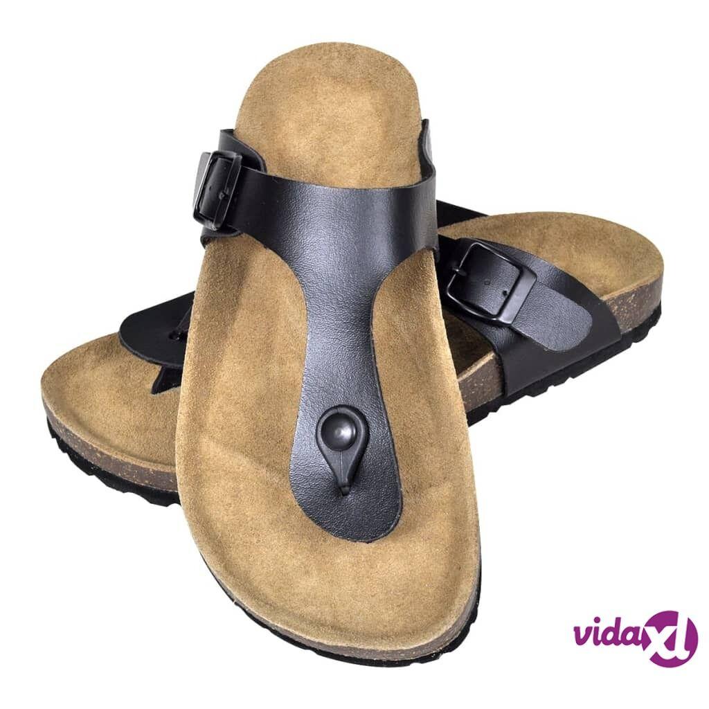 vidaXL Women's Bio Cork Sandal with Flip Flop Design Black Size 36