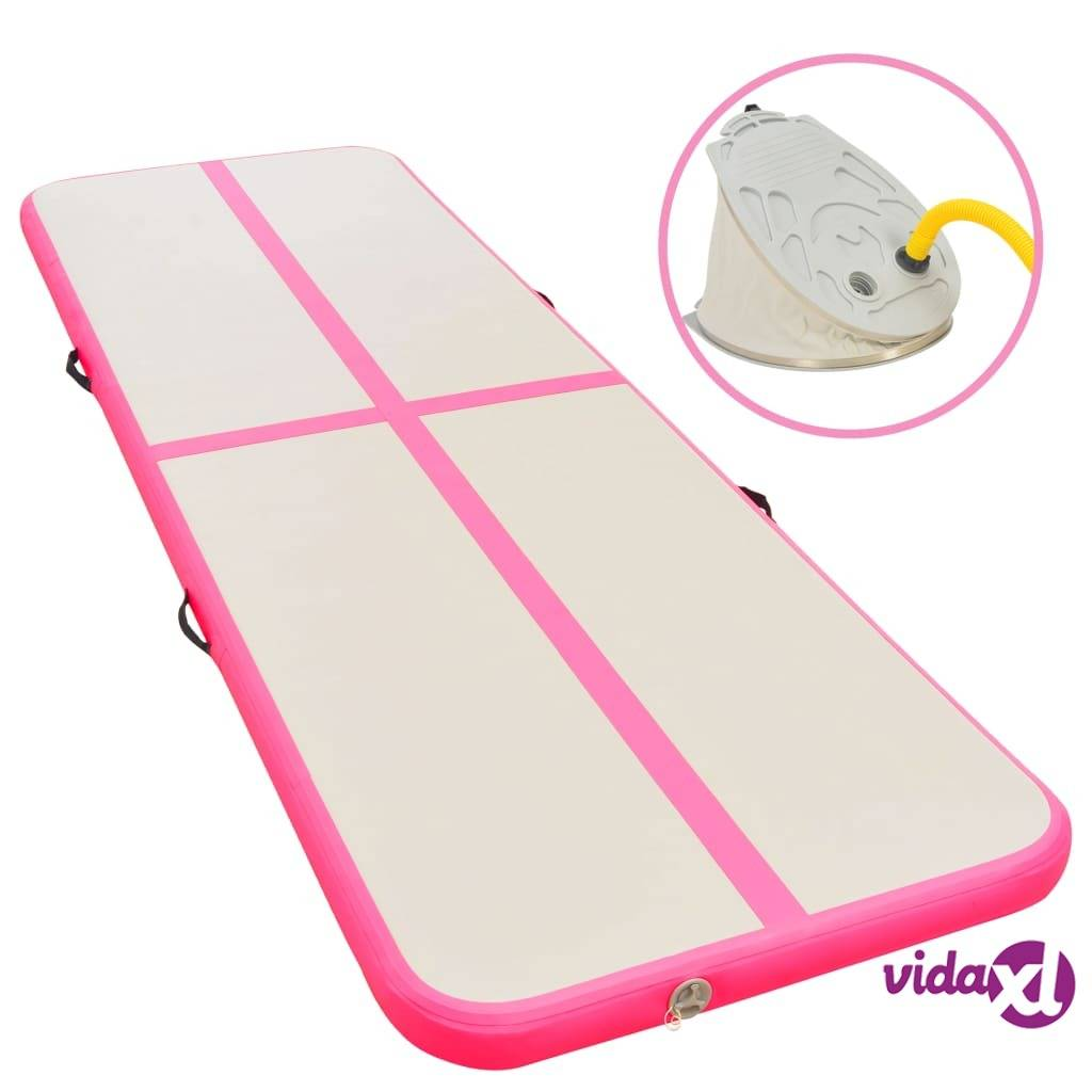 vidaXL Inflatable Gymnastics Mat with Pump 600x100x10 cm PVC Pink