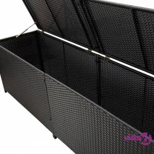 vidaXL Garden Storage Box Poly Rattan 200x50x60 cm Black
