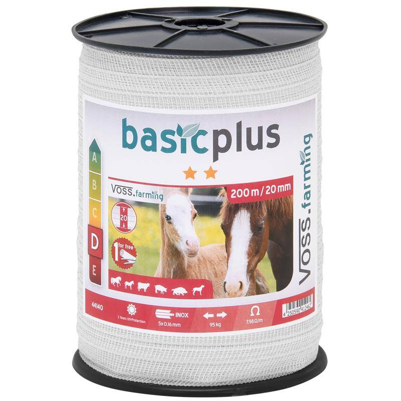 Voss farming Electric Fence Tape 200 m, 20 mm, 5x0.16 STST, White