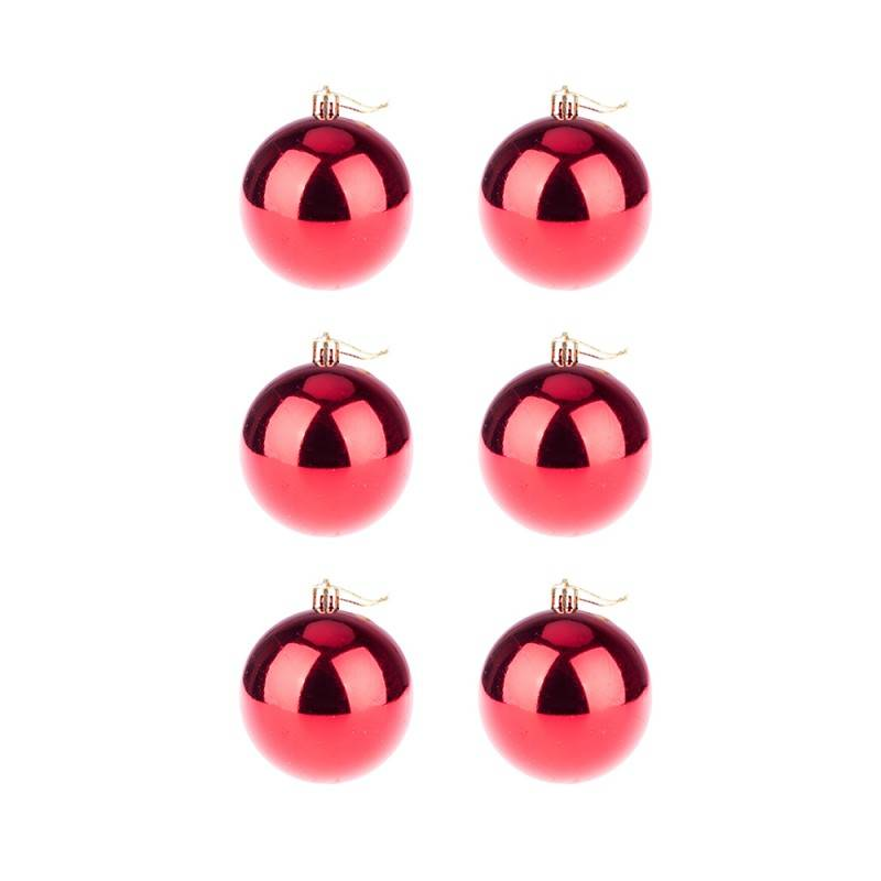 BasicsHome Christmas Ball Ornaments Shiny Red 8 cm 6 pcs Christmas Decorations