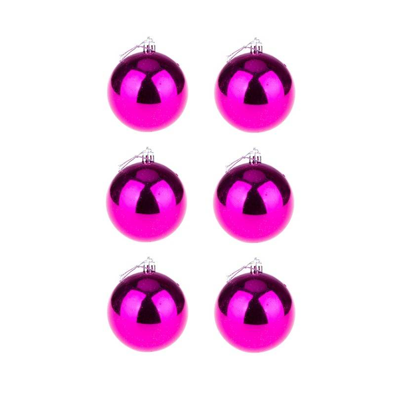 BasicsHome Christmas Ball Ornaments Shiny Pink 8 cm 6 pcs Christmas Decorations