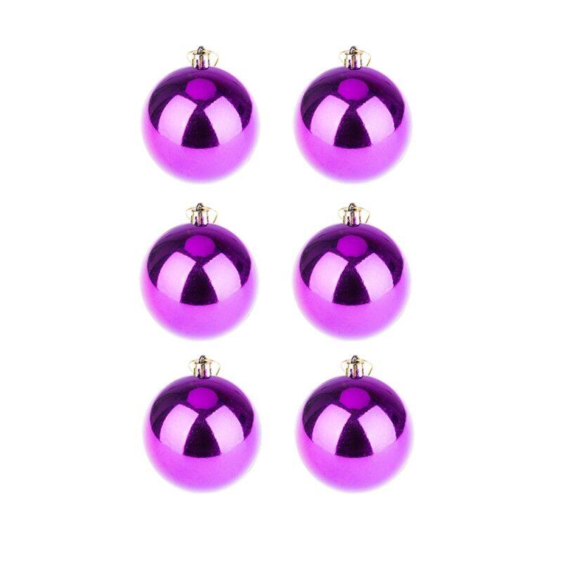 BasicsHome Christmas Ball Ornaments Shiny Purple 8 cm 6 pcs Christmas Decorations