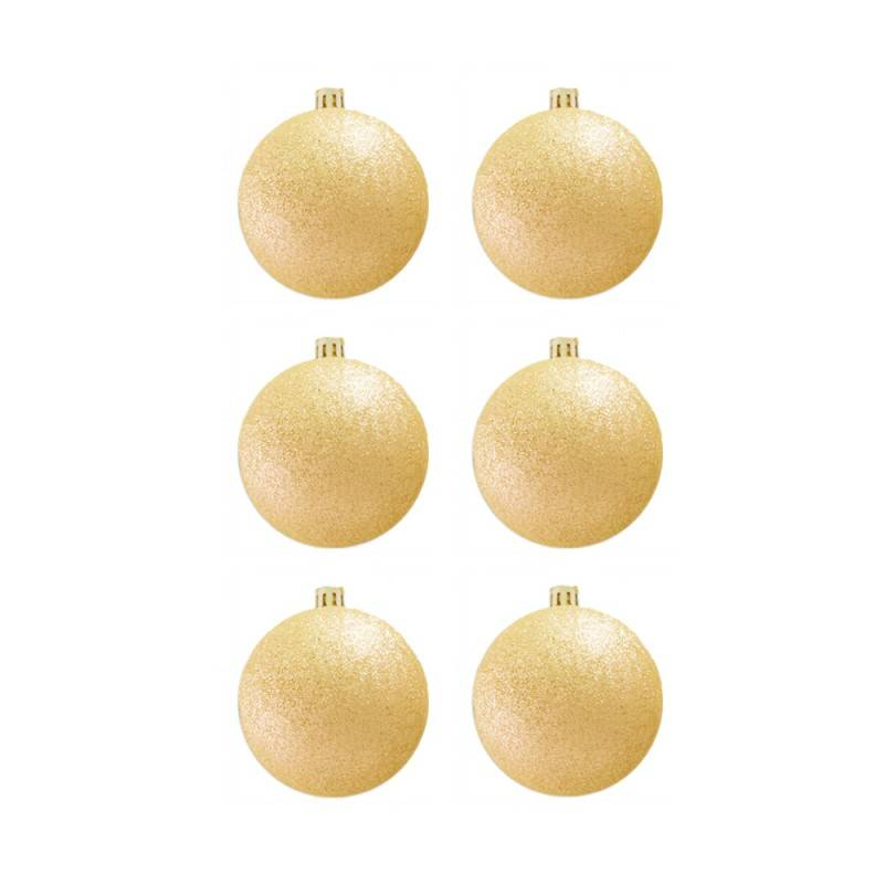 BasicsHome Christmas Ball Ornaments Metallic Gold 8 cm 6 pcs Christmas Decorations