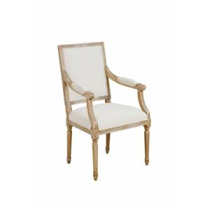 My-Furniture Rosselle French Limed Oak Rectangular Back Dining / Occasional Armchair