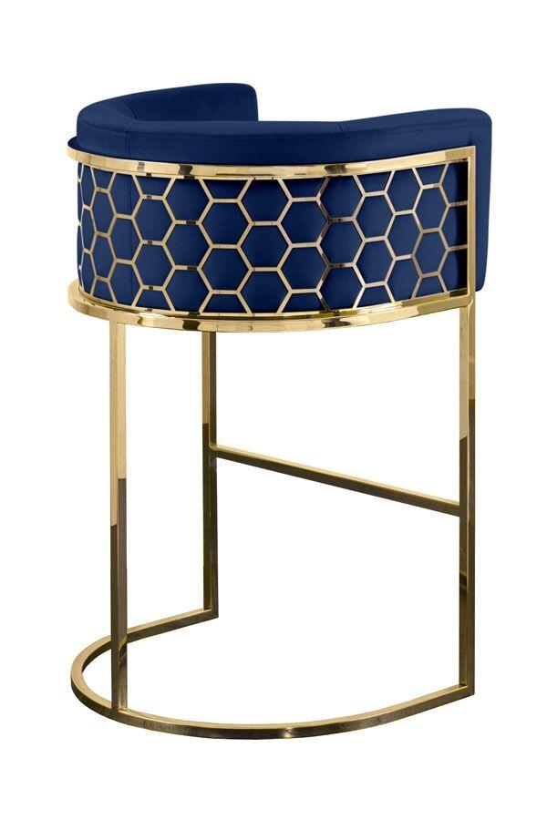 My-Furniture Alveare Bar Stool Brass - Royal Blue