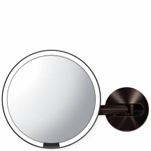 simplehuman - Sensor Mirrors 5 x Magnification Wall Mounted 20cm Sensor Mirror: Round, Dark Bronze Stainless Steel, Rechargeable for Women