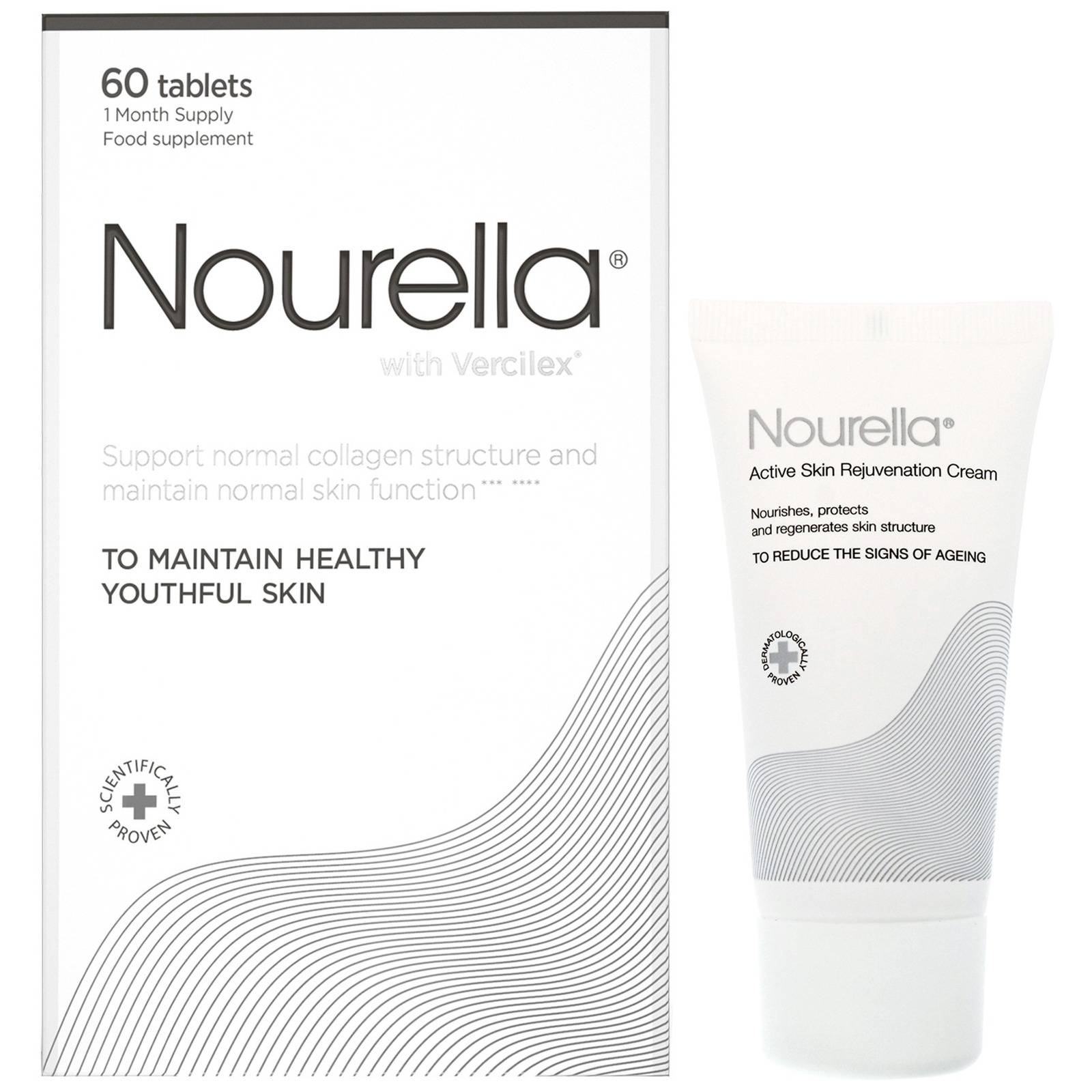 Nourella - Active Skin Support Rejuvenation Cream 50ml & Healthy Youthful Skin Tablets x 60 for Women