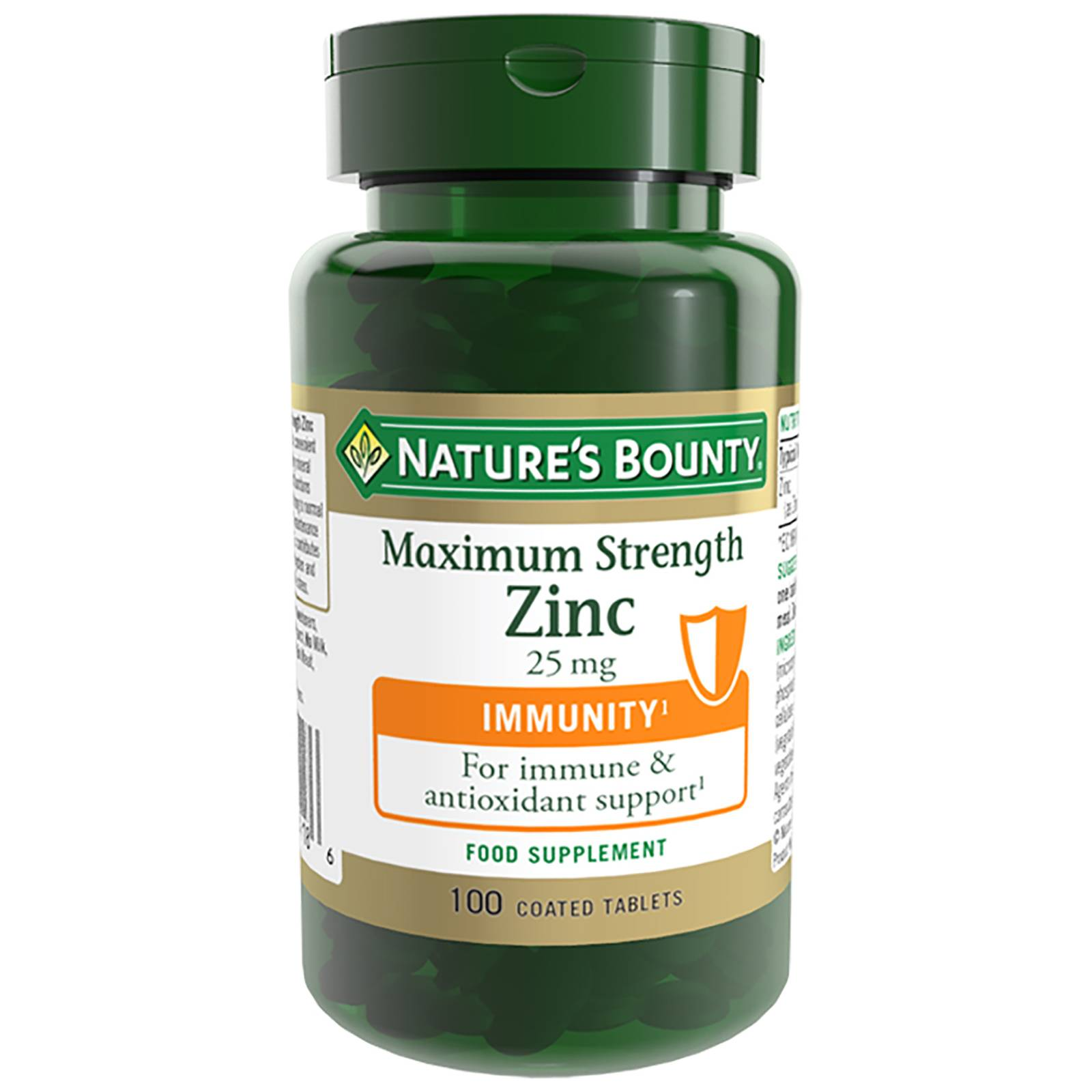Nature's Bounty - Maximum Strength Zinc 25mg Coated Tablets x 100 for Men and Women